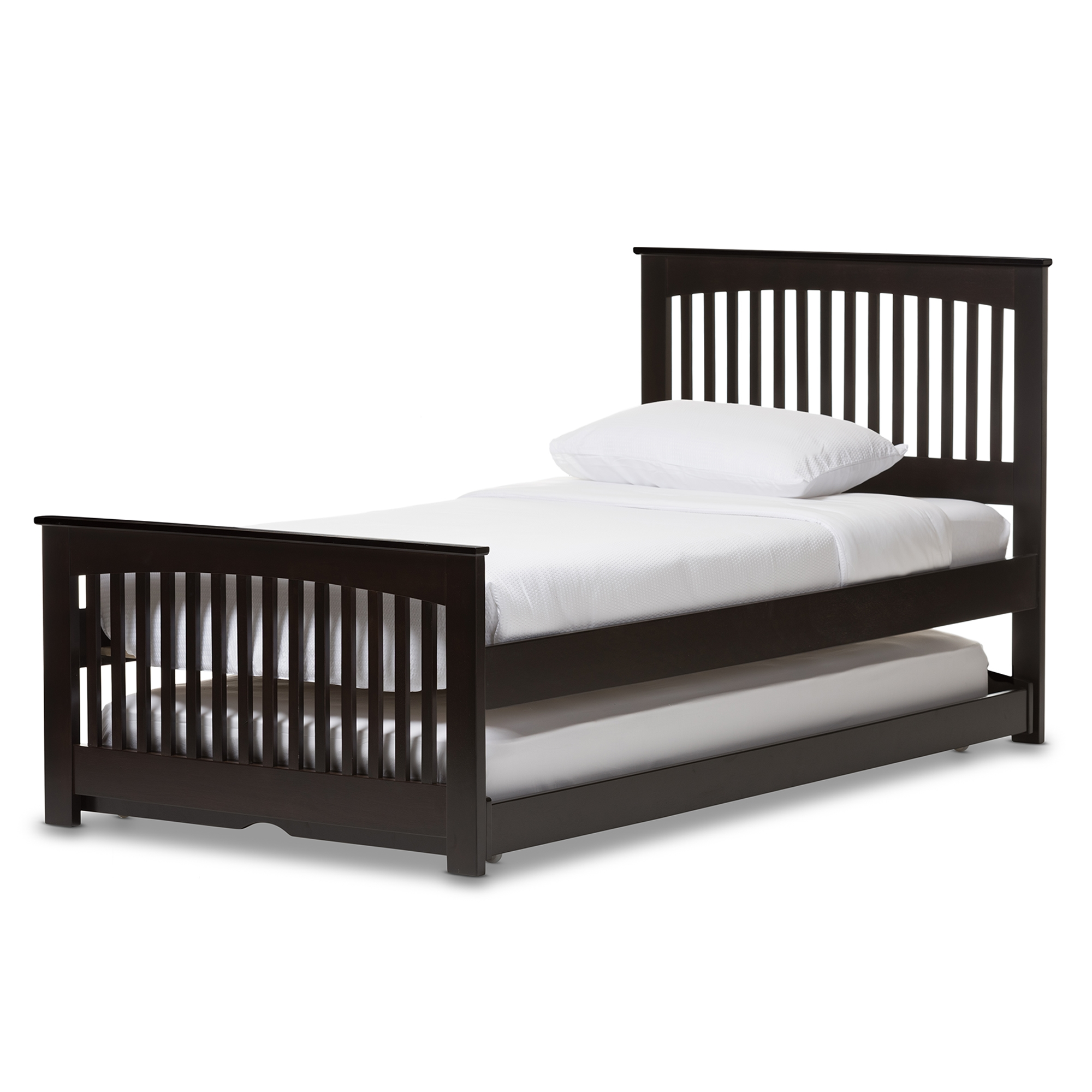 Charmant Baxton Studio Hevea Twin Size Dark Brown Solid Wood Platform Bed With Guest  Trundle Bed ...
