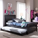 Baxton Studio Hevea Twin Size Dark Brown Solid Wood Platform Bed with Guest Trundle Bed - Bed3-Twin-Wenge