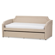 Baxton Studio Parkson Modern and Contemporary Beige Linen Fabric Curved Notched Corners Sofa Twin Daybed with Roll-Out Trundle Guest Bed Baxton Studio restaurant furniture, hotel furniture, commercial furniture, wholesale bedroom furniture, wholesale beds, classic twin size bed