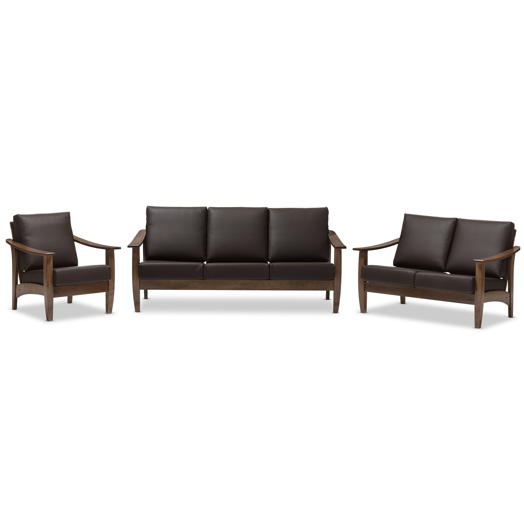 Incroyable Baxton Studio Pierce Mid Century Modern Walnut Brown Wood And Dark Brown  Faux Leather Living ...
