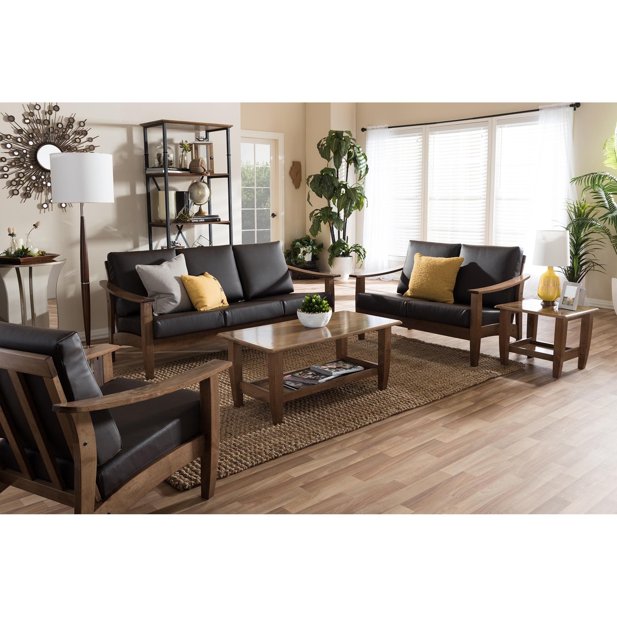 ... Baxton Studio Pierce Mid Century Modern Walnut Brown Wood And Dark  Brown Faux Leather Living