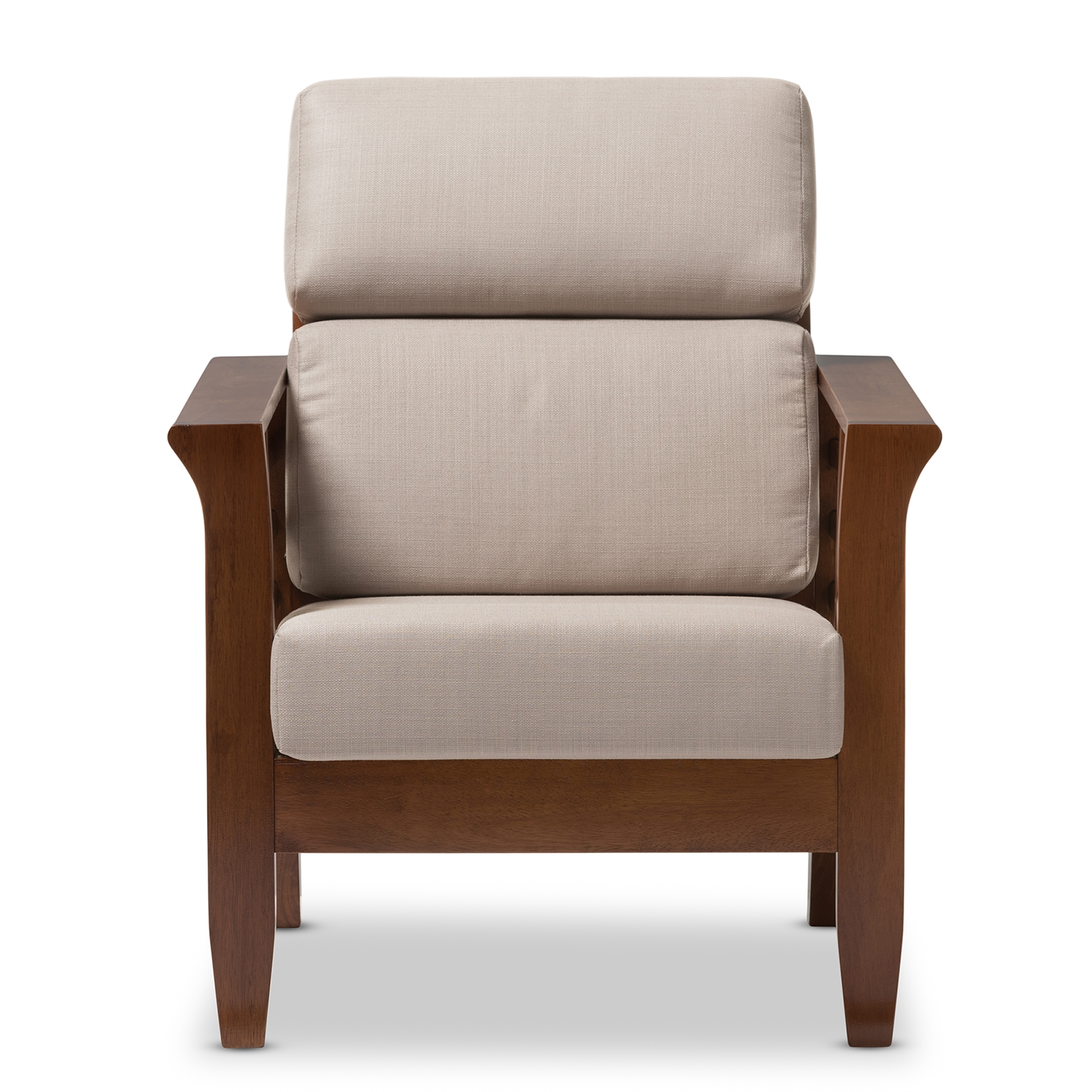 Baxton Studio Larissa Modern Classic Mission Style Cherry Finished Brown  Wood And Beige Fabric High Back ...