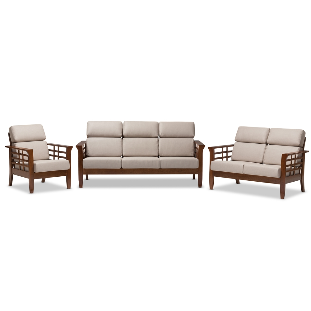 Baxton Studio Larissa Modern Clic Mission Style Cherry Finished Brown Wood And Beige Fabric High Back