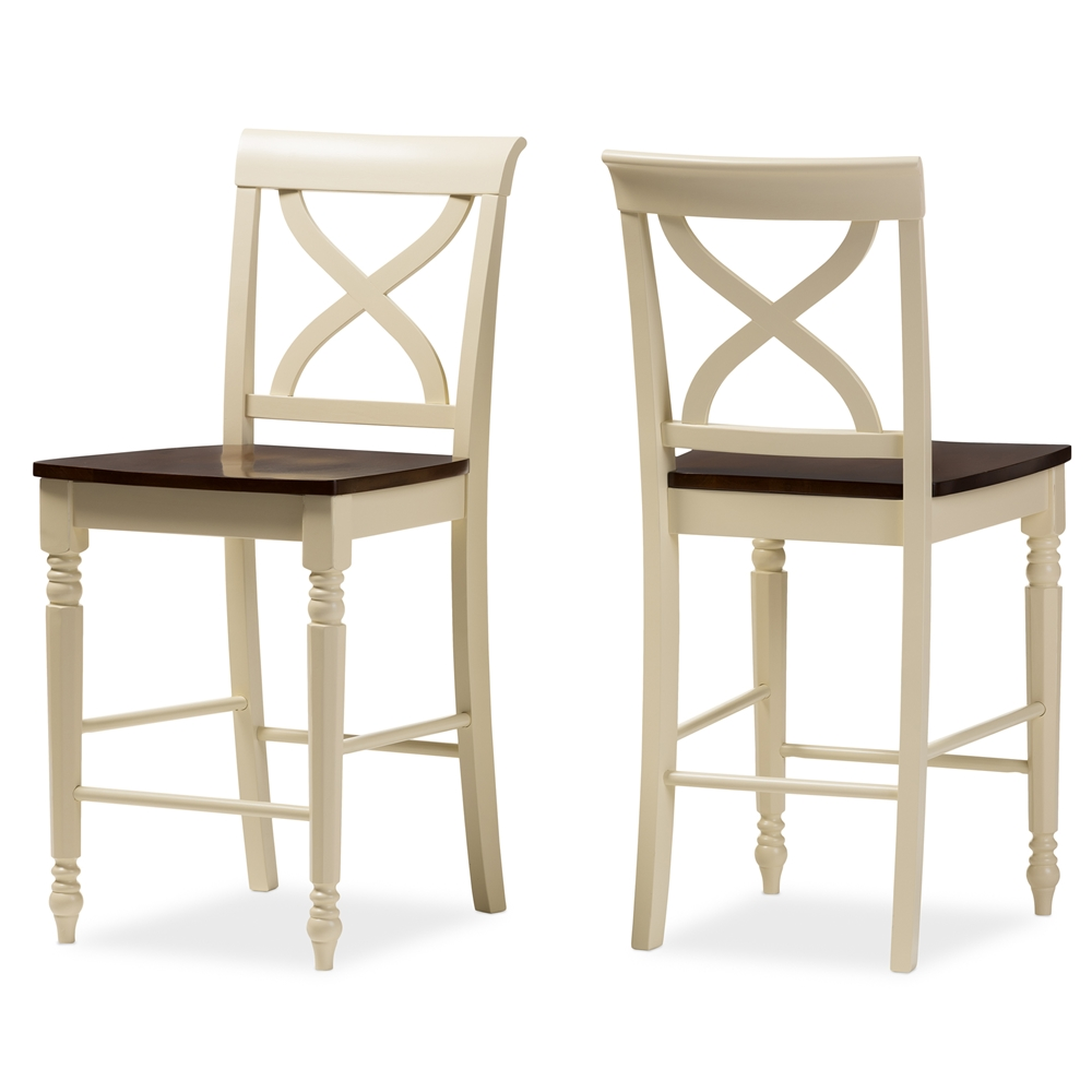 Dining Chairs Wholesale Wood Baxton Studio Ashton Modern Country Cottage Buttermilk And Walnut Brown Finishing Counter Height