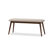 "Baxton Studio Flora Mid-Century Modern Light Grey Fabric and ""Oak"" Medium Brown Finishing Wood Dining Bench Baxton Studio restaurant furniture, hotel furniture, commercial furniture, wholesale dining room furniture, wholesale dining bench, classic bench"