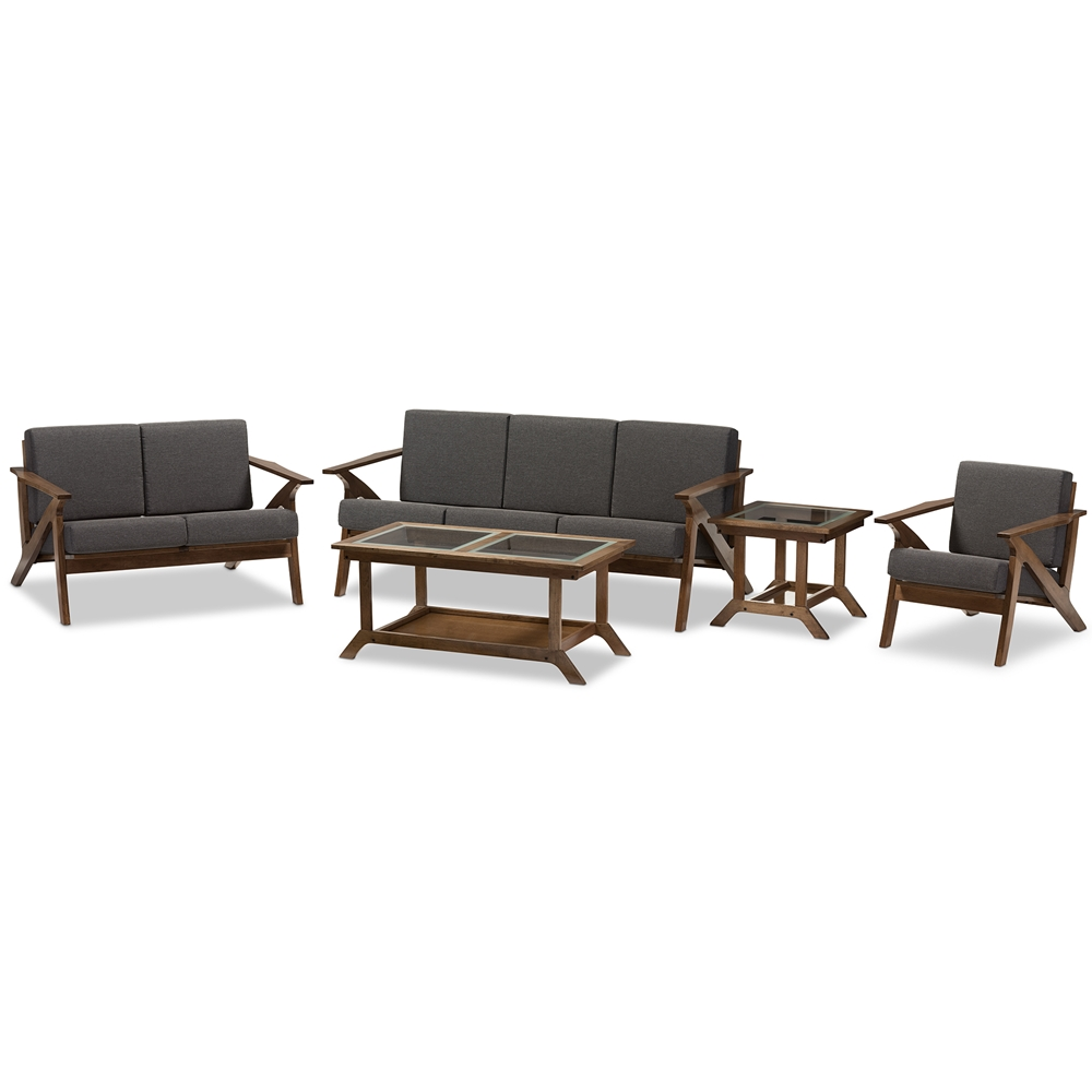 Wholesale sofa sets baxton studio cayla mid century modern grey fabric and walnut brown wood 5
