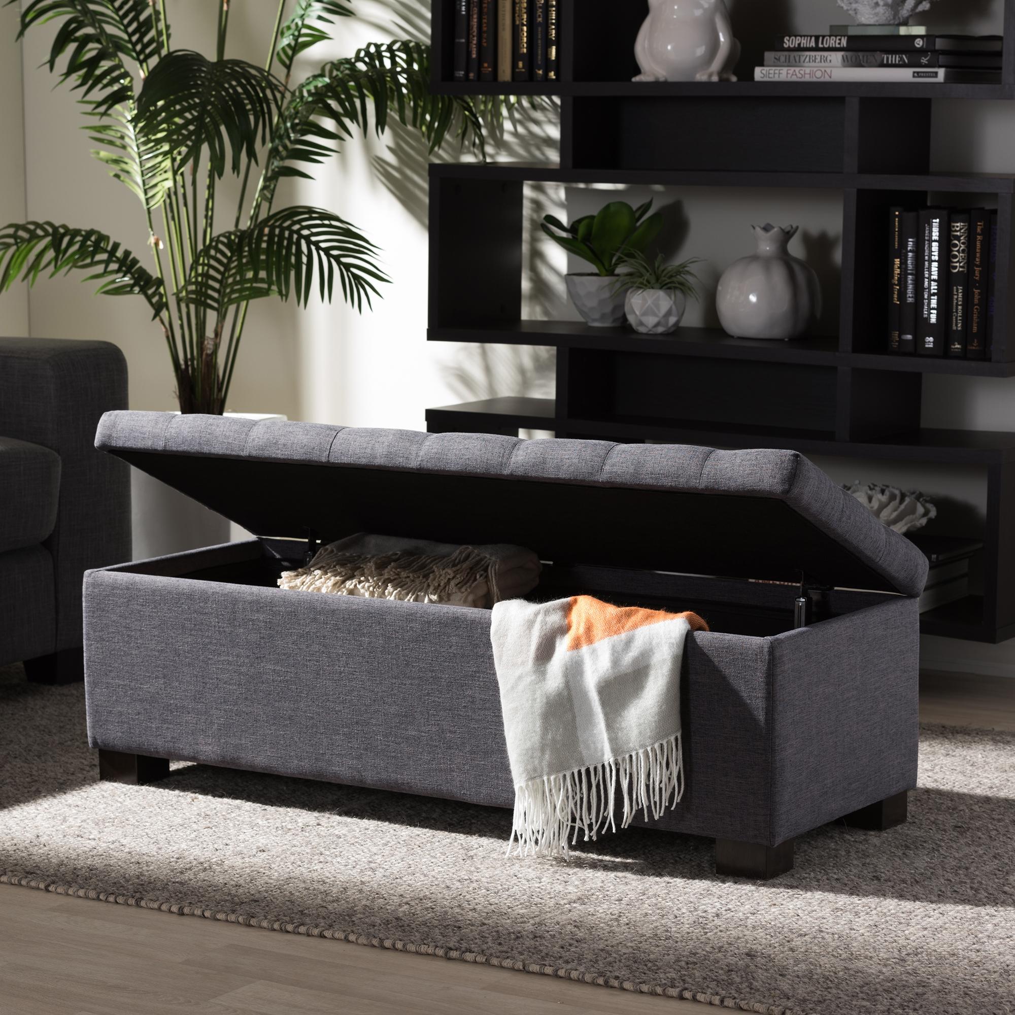 ... Baxton Studio Roanoke Modern And Contemporary Dark Grey Fabric  Upholstered Grid Tufting Storage Ottoman Bench ...