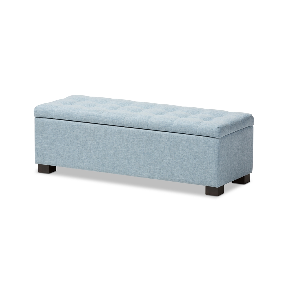 Baxton studio roanoke modern and contemporary light blue fabric upholstered grid tufting storage ottoman bench