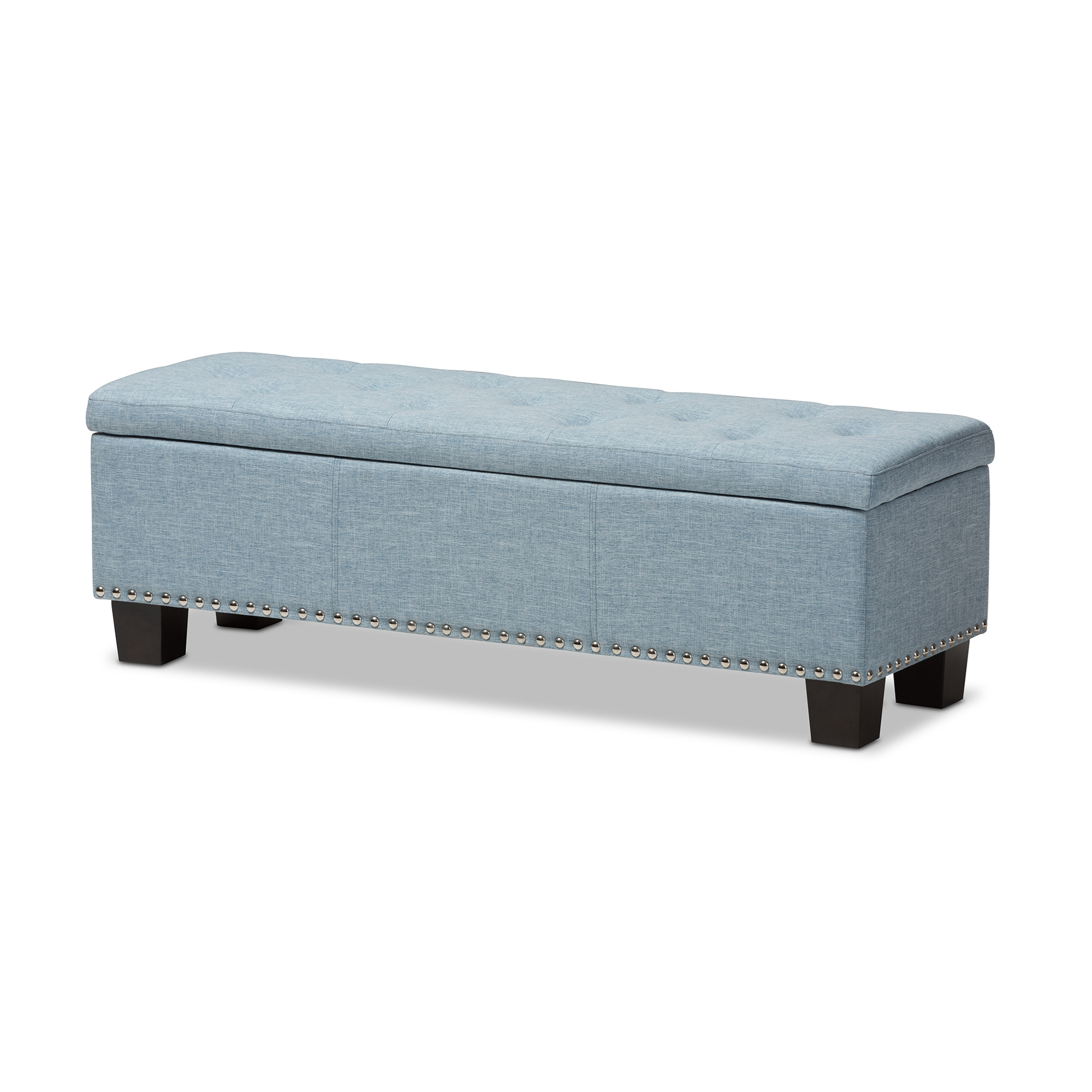 Merveilleux Baxton Studio Hannah Modern And Contemporary Light Blue Fabric Upholstered  Button Tufting Storage Ottoman Bench ...