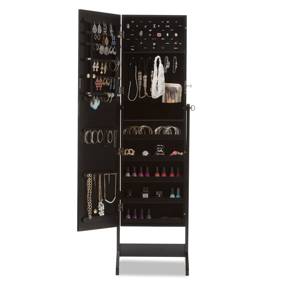 Baxton Studio Alena Black Finishing Wood Free Standing Cheval Mirror Jewelry Armoire Gld13316