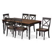 "Baxton Studio Rosalind Shabby Chic Country Cottage Weathered Dove Grey and ""Oak"" Brown 2-Tone Finishing Solid Wood Top 7-Piece Dining Set  Baxton Studio restaurant furniture, hotel furniture, commercial furniture, wholesale dining room furniture, wholesale dining sets, classic 7-piece sets"