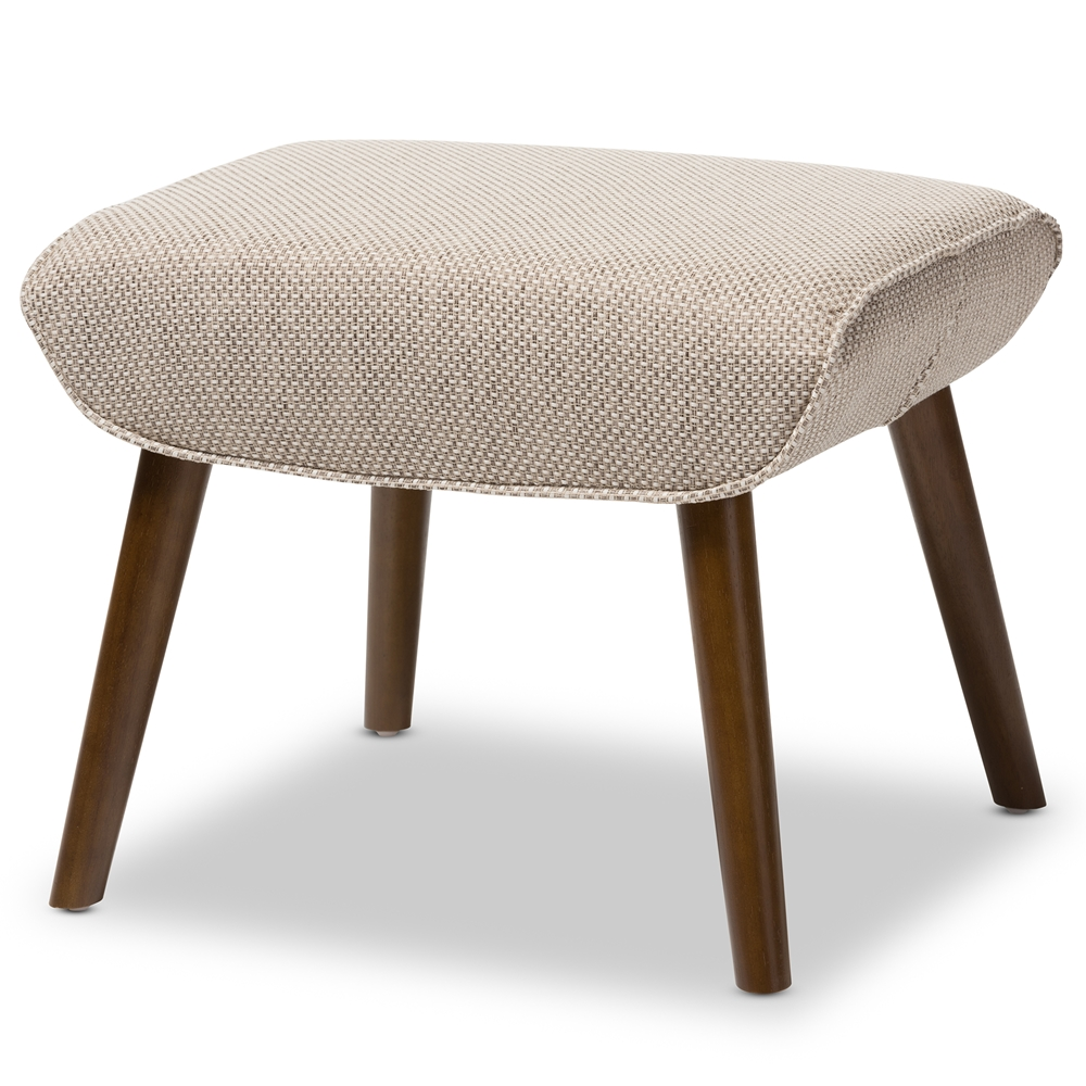 upholstered stools for living room. Baxton Studio Nola Mid Century Inspired Beige Fabric Upholstered Stool  U5033W Latte Wholesale Stools Living Room furniture