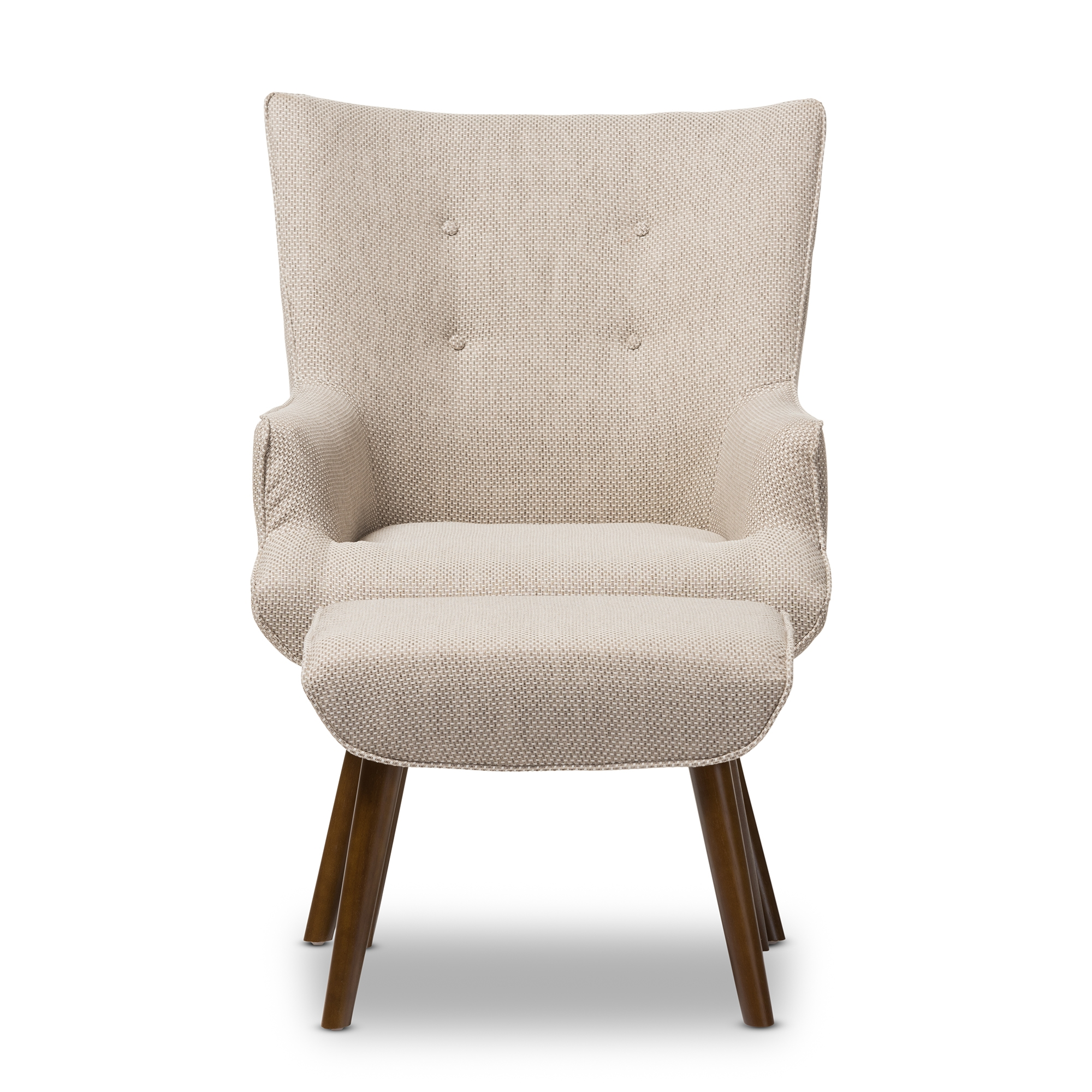 ... Baxton Studio Nola Mid Century Inspired Beige Fabric Upholstered Occasional  Armchair And Ottoman Set ...