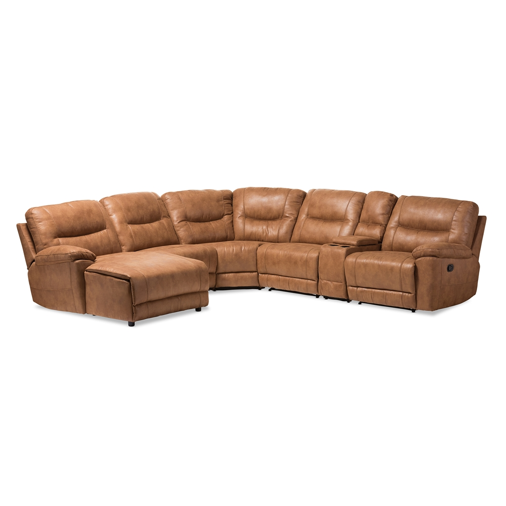 Baxton Studio Mistral Modern And Contemporary Light Brown Palomino Suede 6 Piece Sectional With Recliners