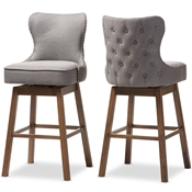 Baxton Studio Gradisca Modern and Contemporary Brown Wood Finishing and Grey Fabric Button-Tufted Upholstered Swivel Barstool Baxton Studio restaurant furniture, hotel furniture, commercial furniture, wholesale bar furniture, wholesale bar stools, classic stools