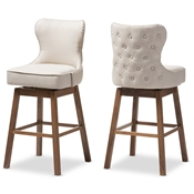 Baxton Studio Gradisca Modern and Contemporary Brown Wood Finishing and Light Beige Fabric Button-Tufted Upholstered Swivel Barstool Baxton Studio restaurant furniture, hotel furniture, commercial furniture, wholesale bar furniture, wholesale bar stools, classic stools