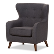 Baxton Studio Ludwig Mid-Century Modern Dark Grey Fabric Upholstered Walnut Wood Button-Tufted Armchair Baxton Studio restaurant furniture, hotel furniture, commercial furniture, wholesale living room furniture, wholesale chair, classic armchair