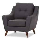 Baxton Studio Deena Mid-Century Modern Dark Grey Fabric Upholstered Walnut Wood Button-Tufted Armchair Baxton Studio restaurant furniture, hotel furniture, commercial furniture, wholesale living room furniture, wholesale chair, classic armchair