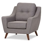 Baxton Studio Deena Mid-Century Modern Light Grey Fabric Upholstered Walnut Wood Button-Tufted Armchair Baxton Studio restaurant furniture, hotel furniture, commercial furniture, wholesale living room furniture, wholesale chair, classic armchair