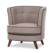 Baxton Studio Albany Mid-Century Modern Beige Fabric Upholstered Walnut Wood Button-Tufted Accent Chair Baxton Studio restaurant furniture, hotel furniture, commercial furniture, wholesale living room furniture, wholesale chair, classic armchair