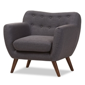 Baxton Studio Harper Mid-Century Modern Dark Grey Fabric Upholstered Walnut Wood Button-Tufted Armchair Baxton Studio restaurant furniture, hotel furniture, commercial furniture, wholesale living room furniture, wholesale chair, classic armchair