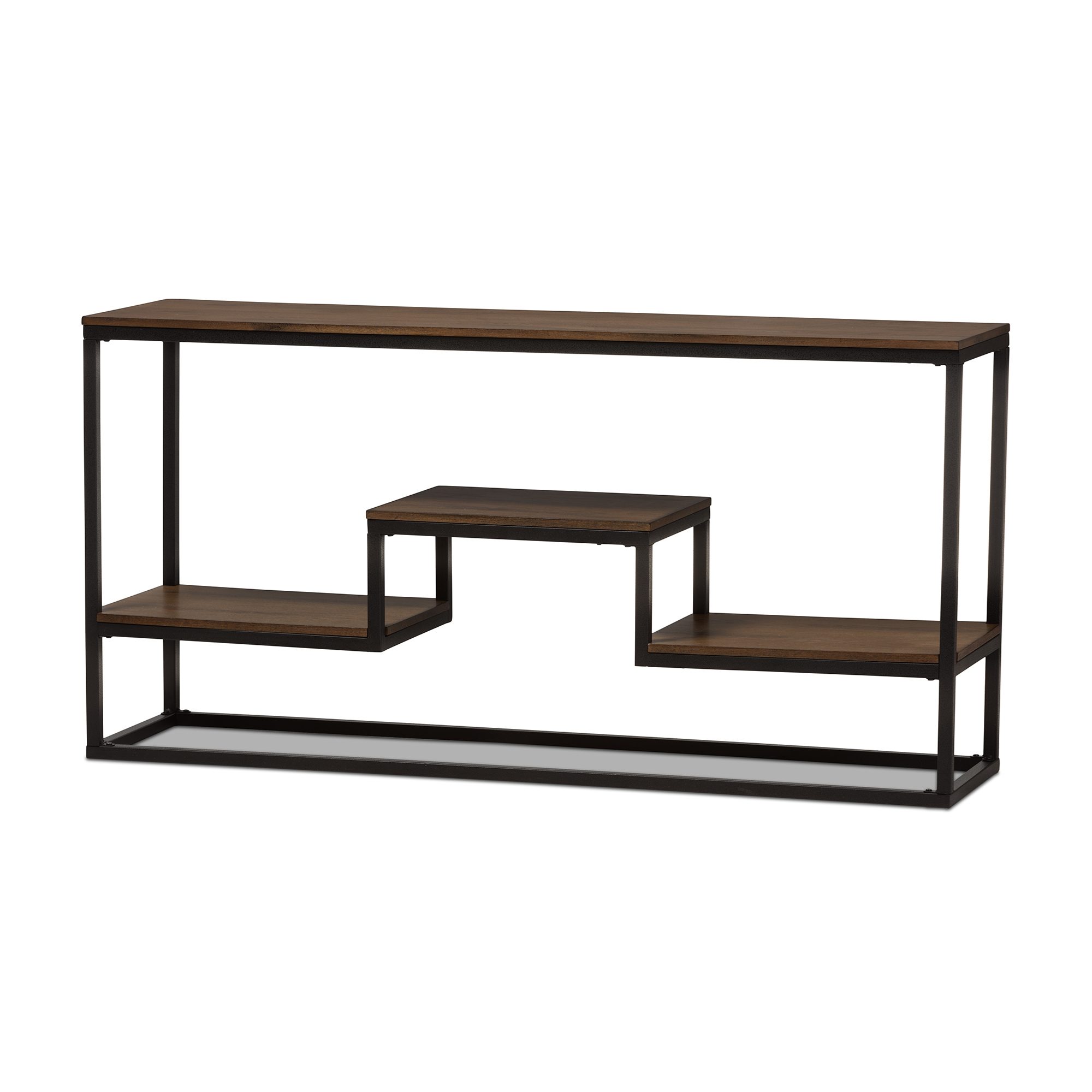 Baxton Studio Doreen Rustic Industrial Style Antique Black Textured  Finished Metal Distressed Wood Console Table ...