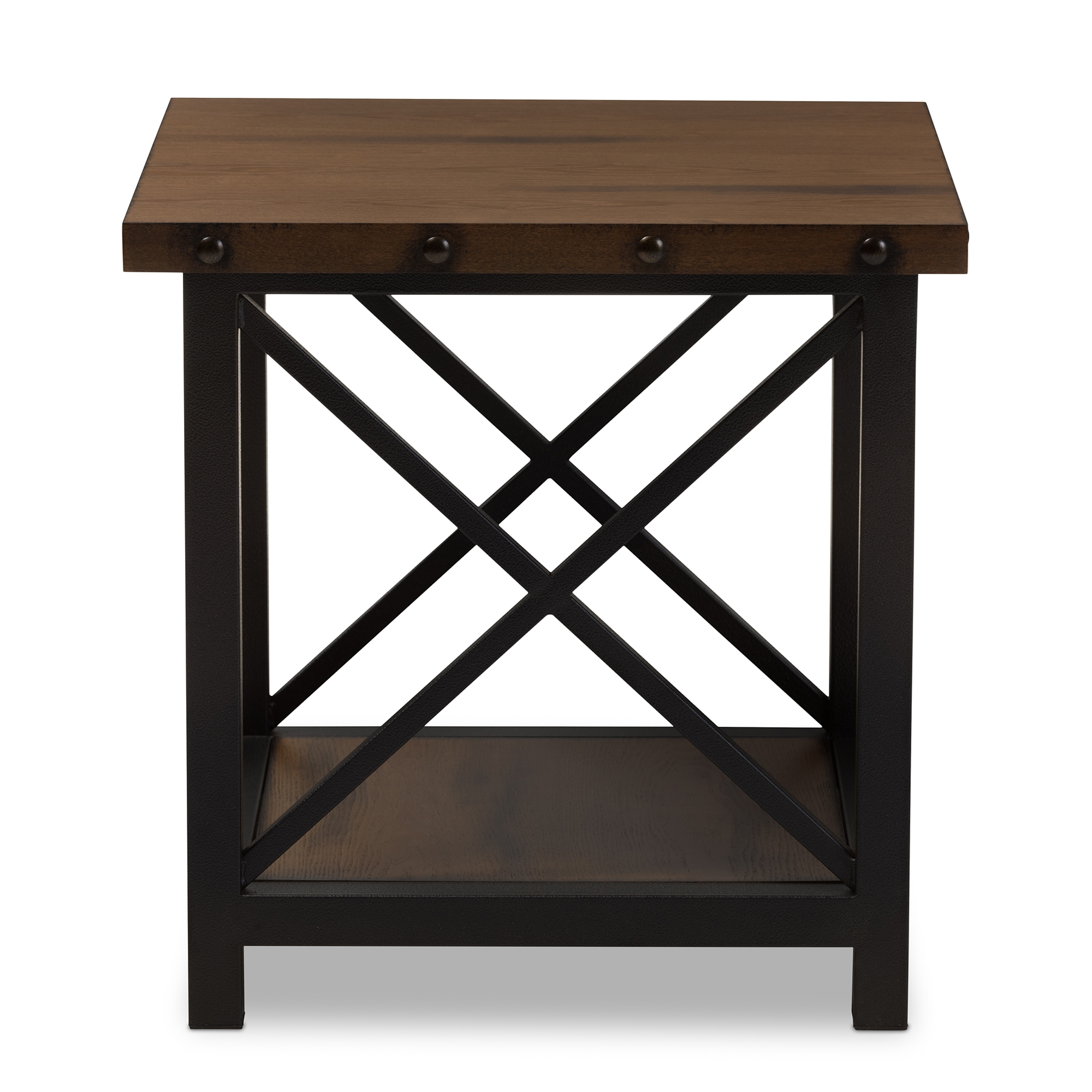 ... Baxton Studio Herzen Rustic Industrial Style Antique Black Textured  Finished Metal Distressed Wood Occasional End Table ...