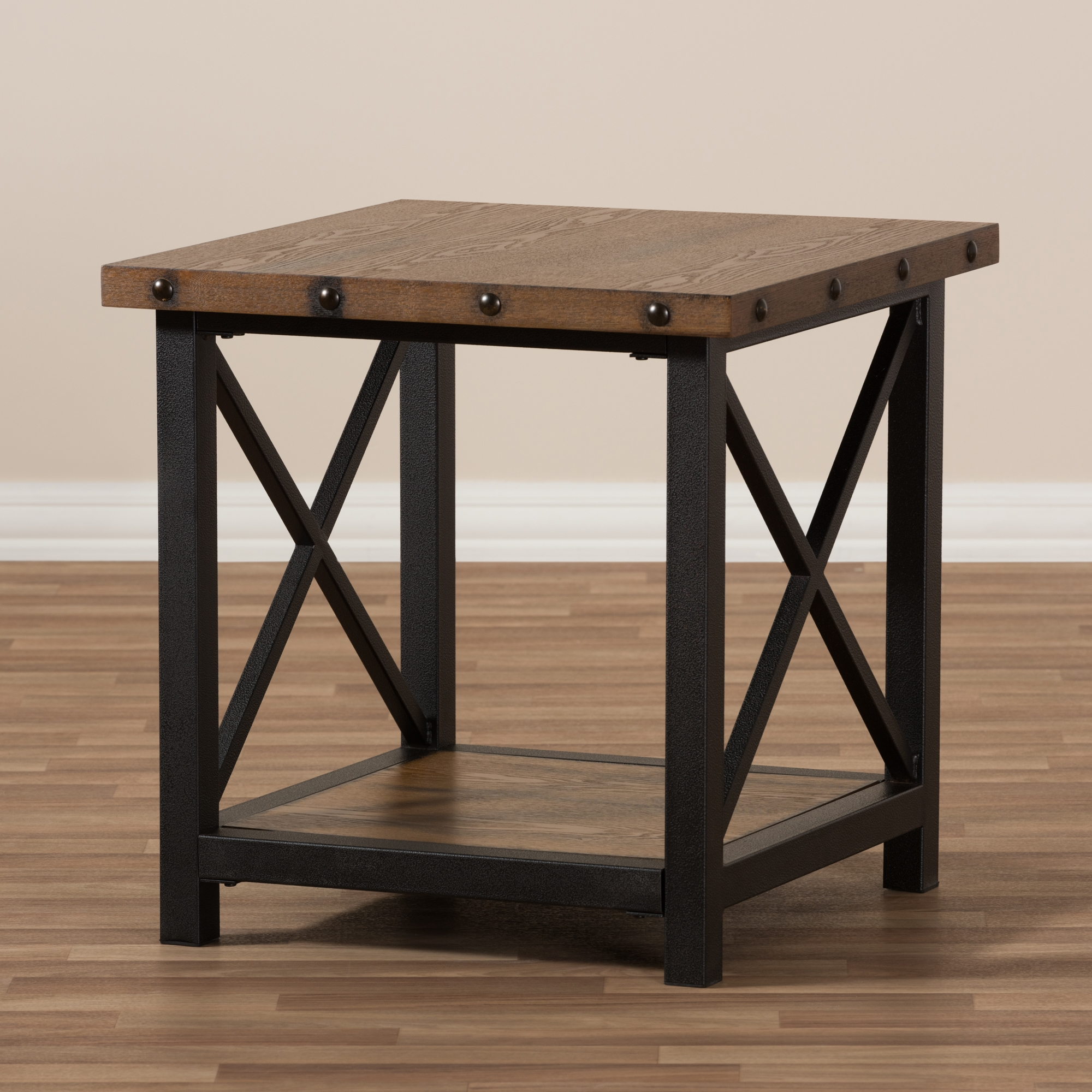 ... Baxton Studio Herzen Rustic Industrial Style Antique Black Textured  Finished Metal Distressed Wood Occasional End Table