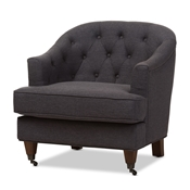 Baxton Studio Jilian Modern and Contemporary Dark Grey Fabric Upholstered Walnut Wood Button-Tufted Armchair Baxton Studio restaurant furniture, hotel furniture, commercial furniture, wholesale living room furniture, wholesale chair, classic armchair