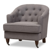 Baxton Studio Jilian Modern and Contemporary Light Grey Fabric Upholstered Walnut Wood Button-Tufted Armchair Baxton Studio restaurant furniture, hotel furniture, commercial furniture, wholesale living room furniture, wholesale chair, classic armchair