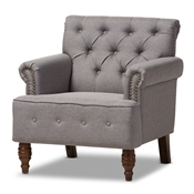 Baxton Studio Christa Modern and Contemporary Light Grey Fabric Upholstered Walnut Wood Button-Tufted Armchair Baxton Studio restaurant furniture, hotel furniture, commercial furniture, wholesale living room furniture, wholesale chair, classic armchair