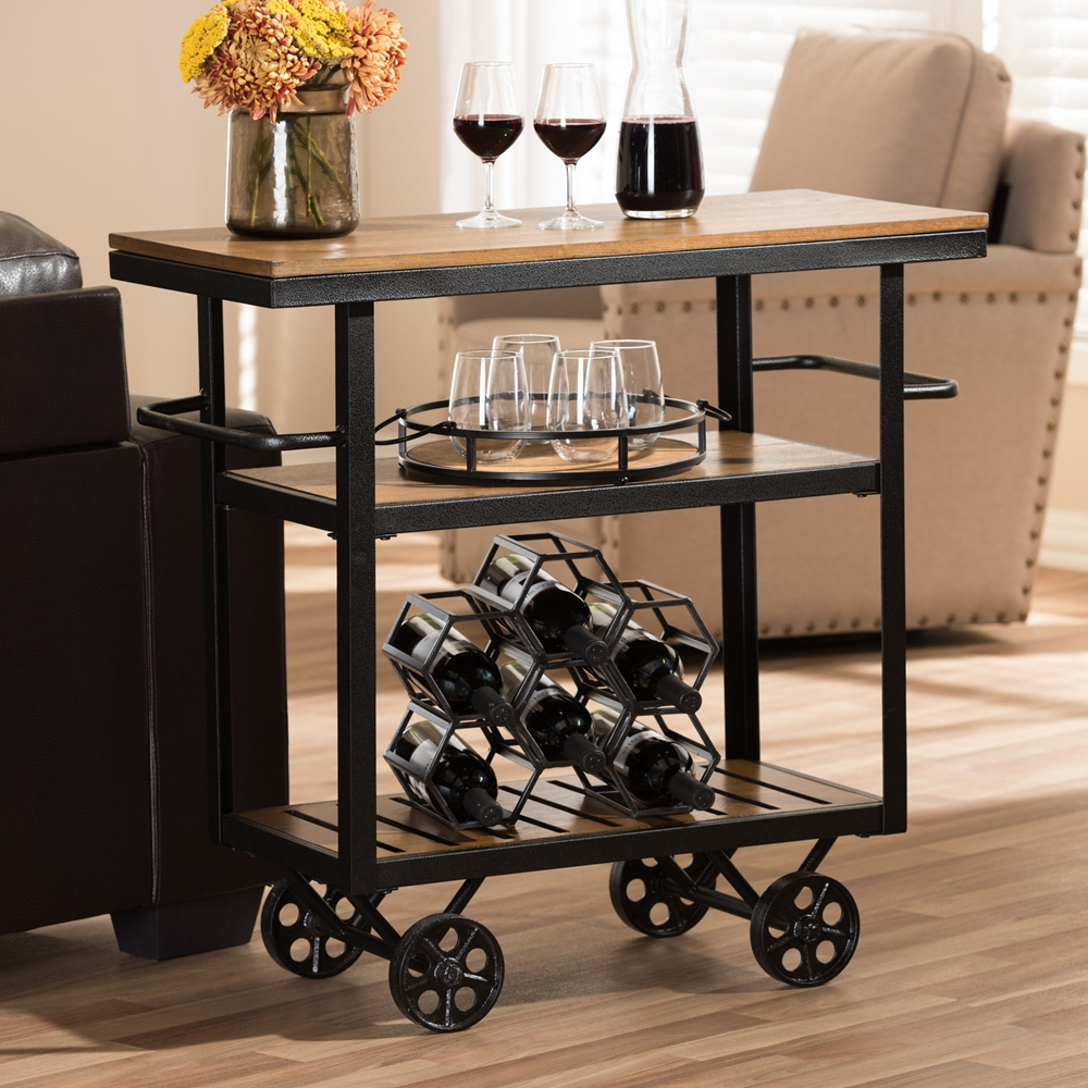 Bentley Industrial Metal And Wood Wheeled Kitchen Serving: Wholesale Dining Room Furniture