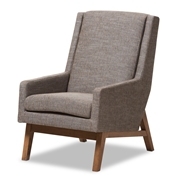 Baxton Studio Aberdeen Mid-Century Modern Walnut Wood Finishing and Gravel Fabric Upholstered Lounge Chair Baxton Studio restaurant furniture, hotel furniture, commercial furniture, wholesale living room furniture, wholesale chair, classic armchair