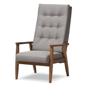 Baxton Studio Roxy Mid-Century Modern Walnut Brown Finish Wood and Grey Fabric Upholstered Button-Tufted High-Back Chair Baxton Studio restaurant furniture, hotel furniture, commercial furniture, wholesale living room furniture, wholesale chair, classic armchair