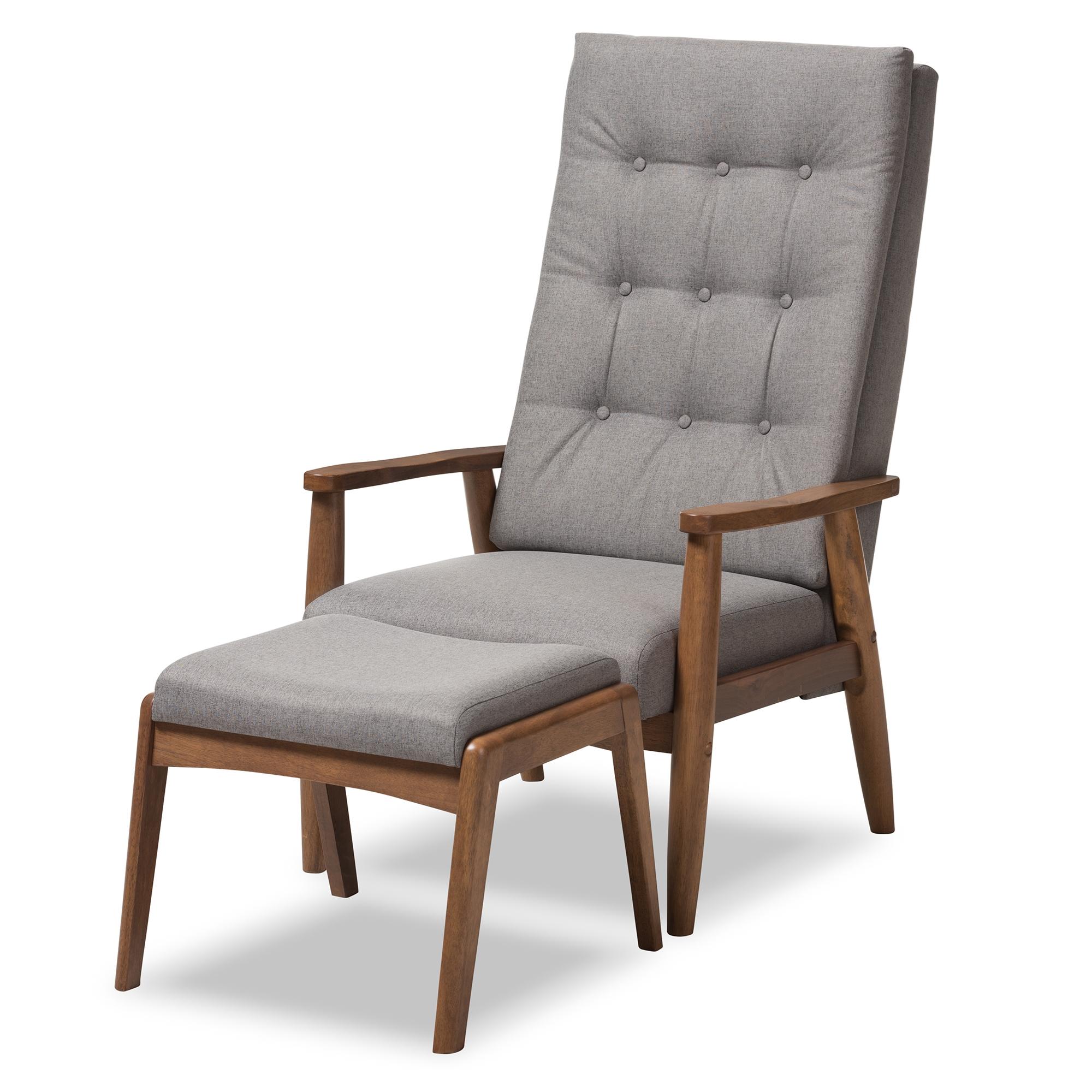 Attirant ... Wholesale Chair U0026 Ottoman Set U003e. Baxton Studio Roxy Mid Century Modern  Walnut Wood Finishing And Grey Fabric Upholstered Button  ...
