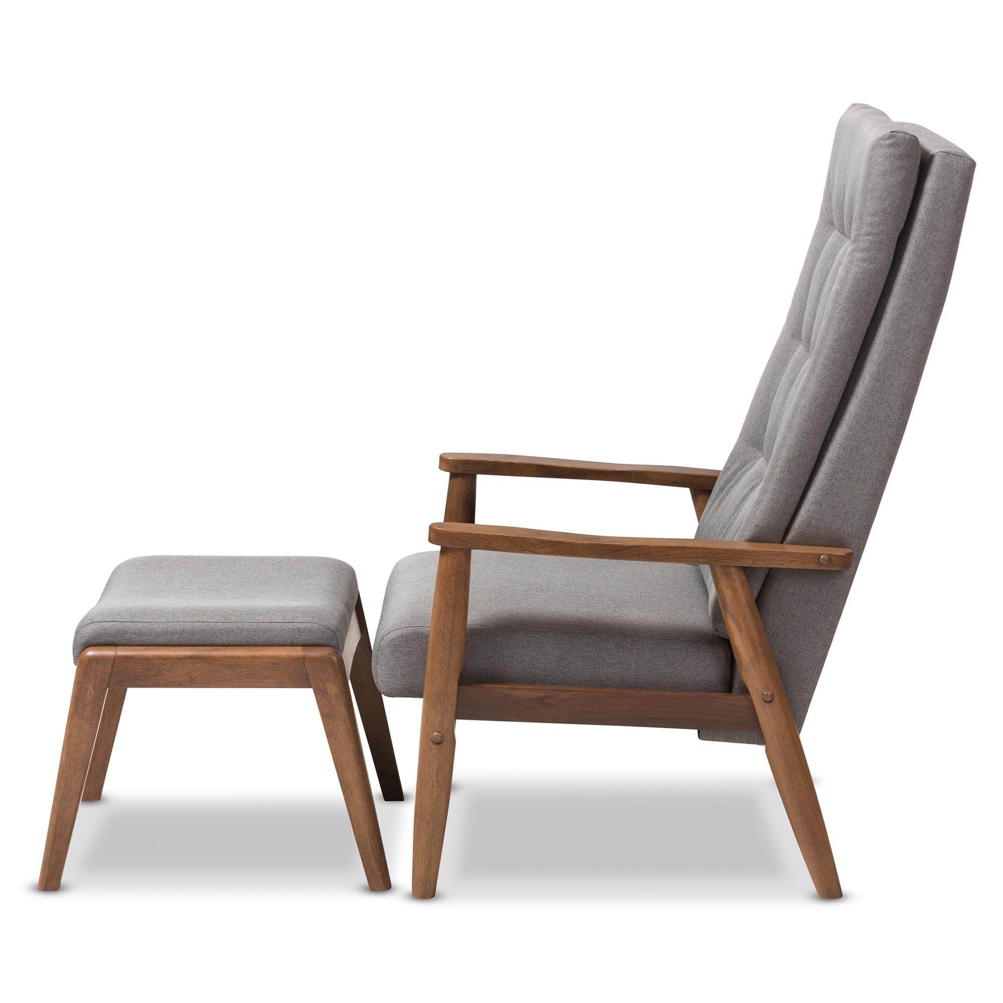 Charmant ... Baxton Studio Roxy Mid Century Modern Walnut Wood Finishing And Grey  Fabric Upholstered Button  ...