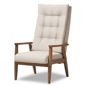 Baxton Studio Roxy Mid-Century Modern Walnut Brown Finish Wood and Light Beige Fabric Upholstered Button-Tufted High-Back Chair Baxton Studio restaurant furniture, hotel furniture, commercial furniture, wholesale living room furniture, wholesale chair, classic armchair