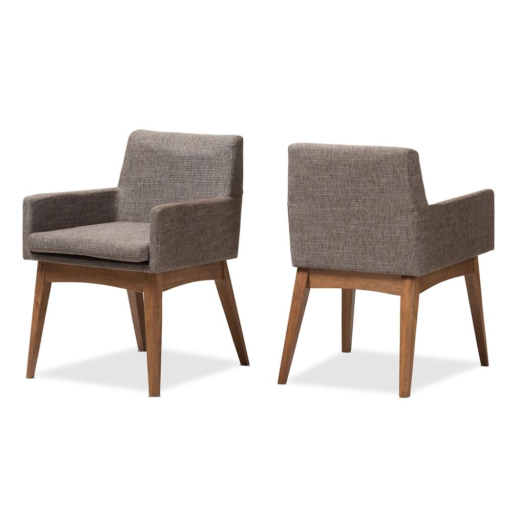 Baxton studio nexus mid century modern walnut wood finishing and gravel fabric upholstered arm chair