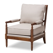 Baxton Studio Beaumont Modern Classic Walnut Brown Finish Wood and Beige Fabric Upholstered Spindle Lounge Chair Baxton Studio restaurant furniture, hotel furniture, commercial furniture, wholesale living room furniture, wholesale chair, classic armchair