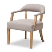 Baxton Studio Macee French Vintage Cottage Weathered Oak Finish Wood and Beige Fabric Upholstered Accent Chair Baxton Studio restaurant furniture, hotel furniture, commercial furniture, wholesale living room furniture, wholesale chair, classic armchair