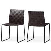 Baxton Studio Fairfield Modern And Contemporary Dark Brown Bonded Leather Dining Chair Set Of 2