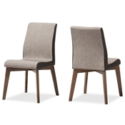 Baxton Studio Kimberly Mid Century Modern Beige And Brown Fabric Dining Chair Set Of