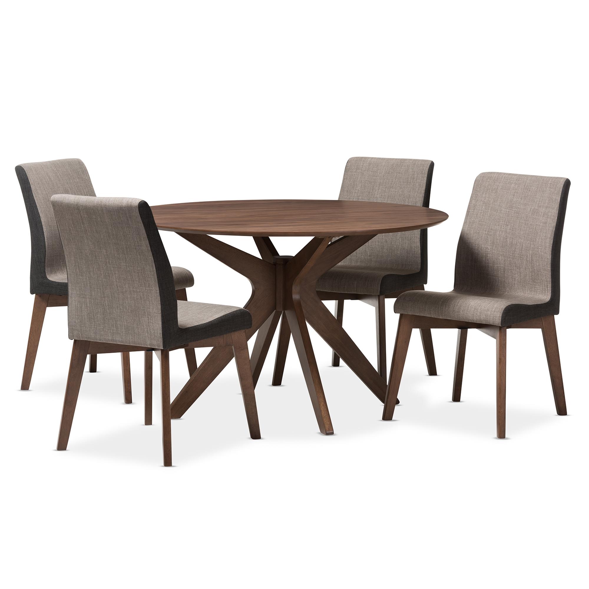 Baxton Studio Kimberly Mid Century Modern Walnut Wood Round 5 Piece Dining  Set ...