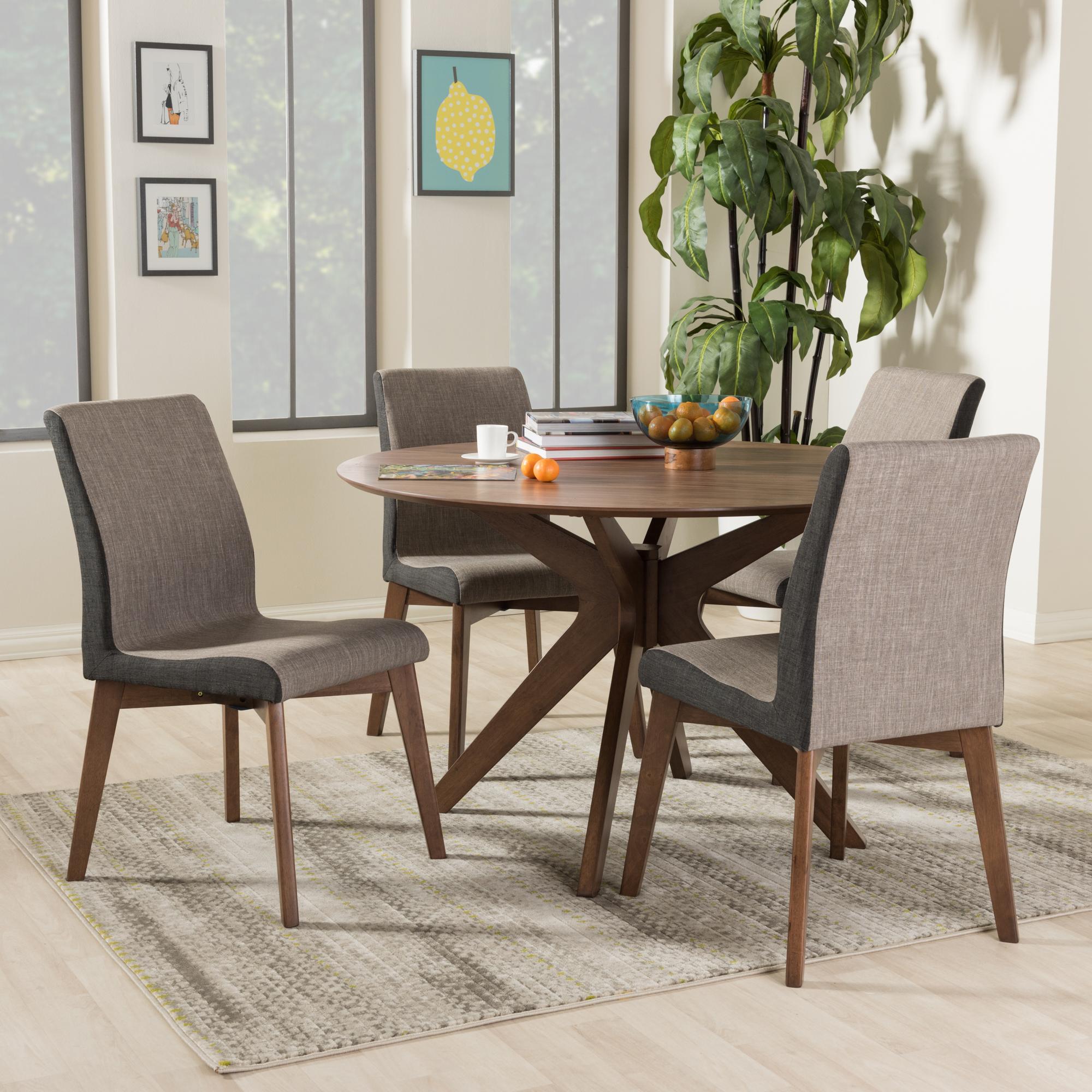 ... Baxton Studio Kimberly Mid Century Modern Walnut Wood Round 5 Piece  Dining Set
