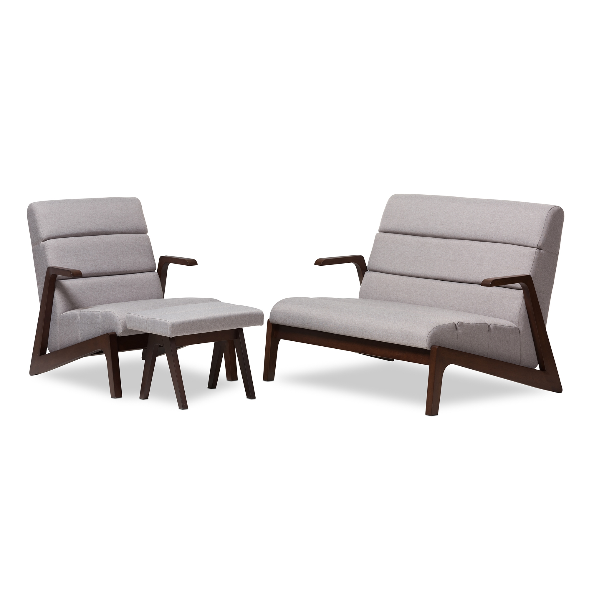 Baxton Studio Vino Mid Century Modern Walnut Wood Grey Fabric 3 Piece Set  ...