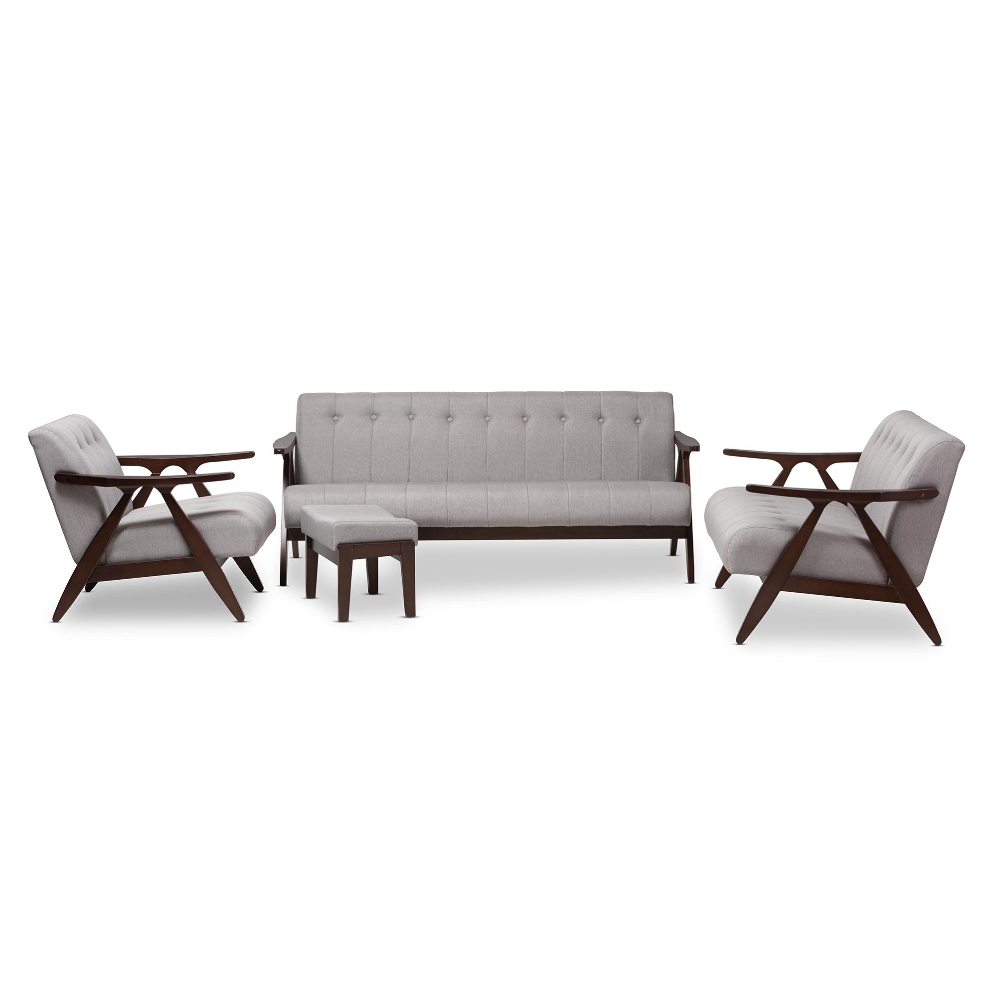 Ordinaire Baxton Studio Enya Mid Century Modern Walnut Wood Grey Fabric 4 Piece Living  Room ...
