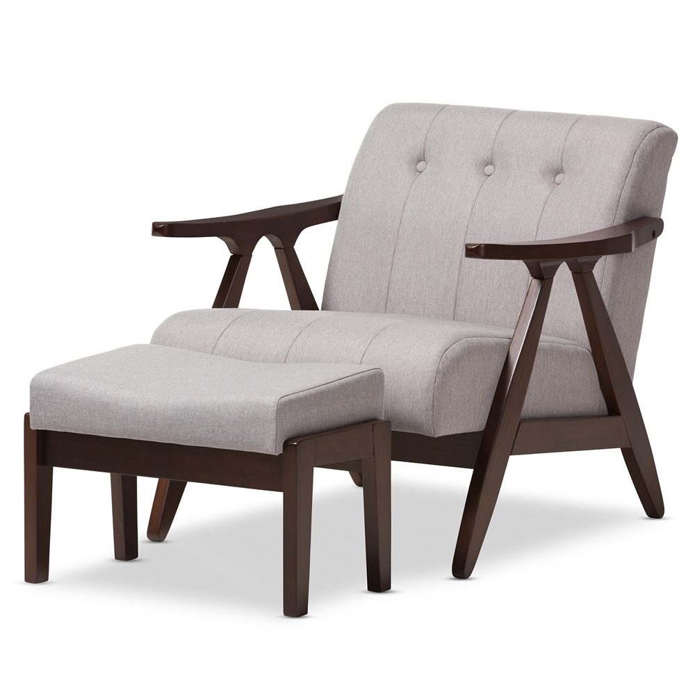 Baxton Studio Enya Mid Century Modern Walnut Wood Grey Fabric Lounge Chair Set Lb160