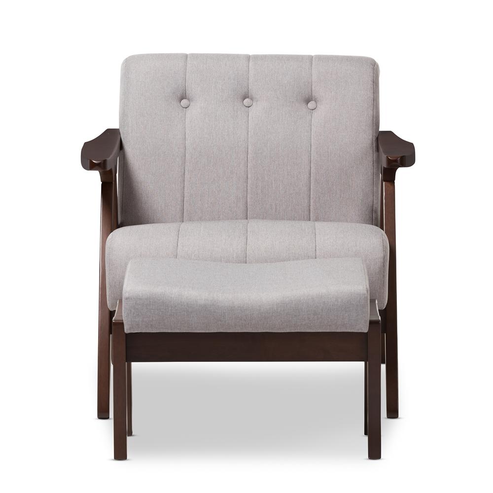 Baxton Studio Enya Mid Century Modern Walnut Wood Grey Fabric Lounge Chair Set Lb160