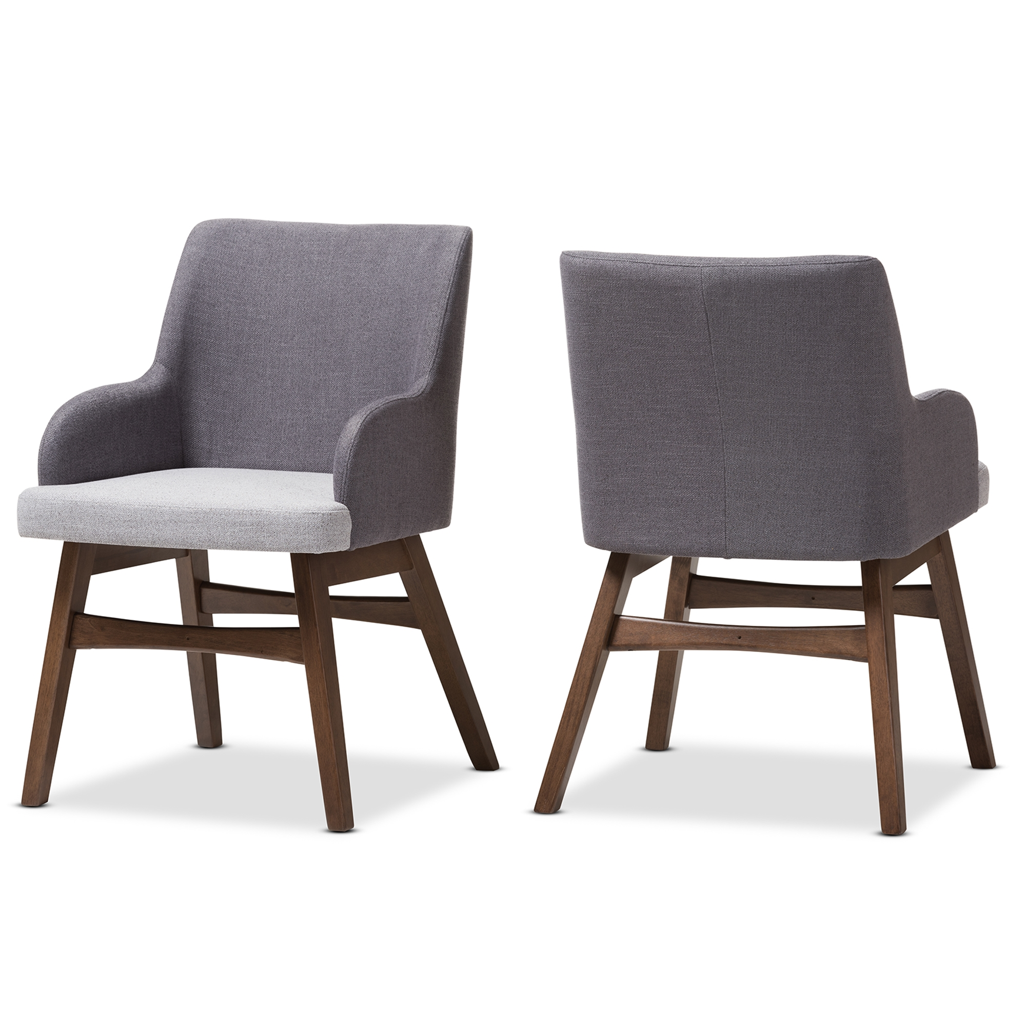 Baxton Studio Monte Mid Century Modern Two Tone Grey Fabric Armchair (Set  Of ...
