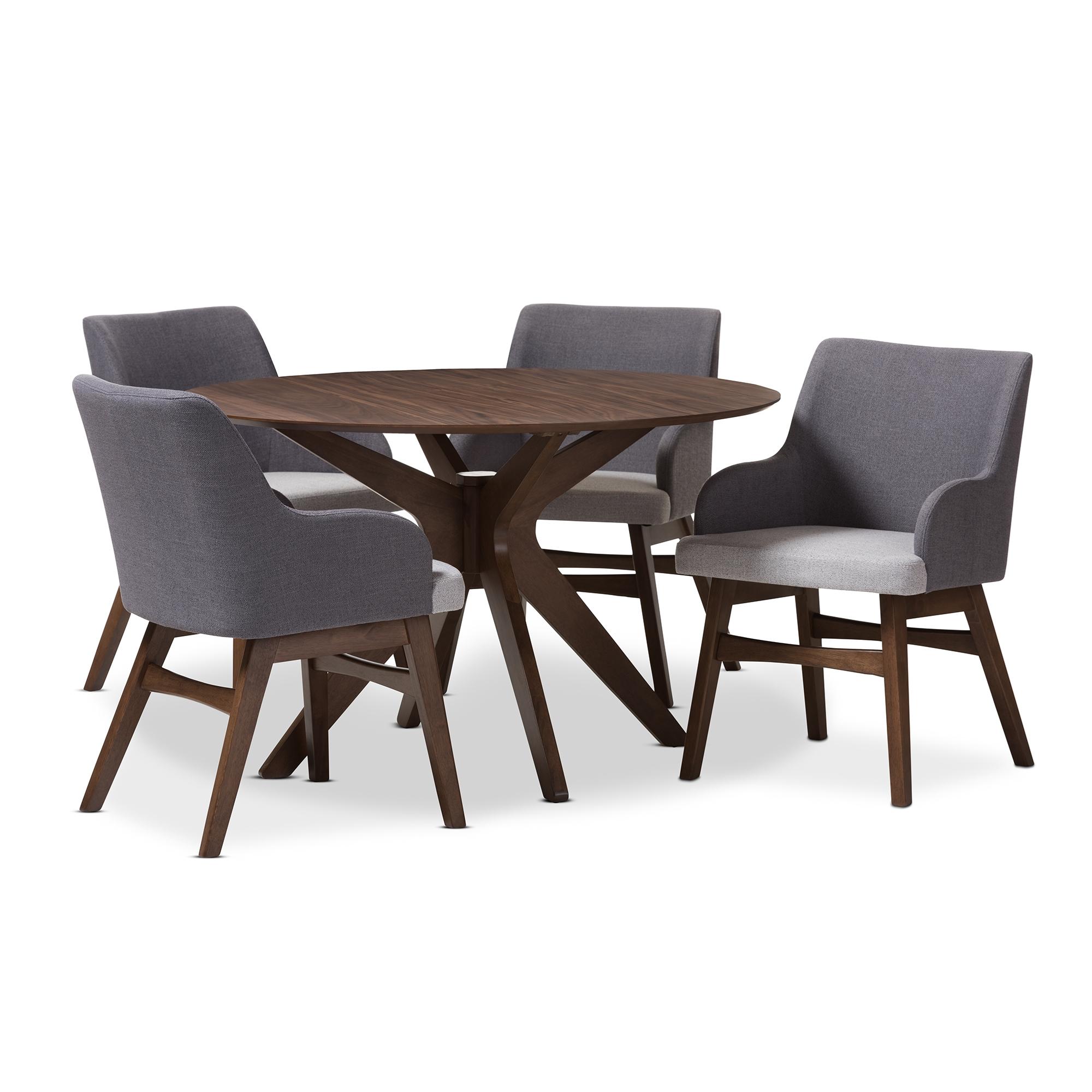Baxton Studio Monte Mid Century Modern Walnut Wood Round 5 Piece Dining Set  Baxton